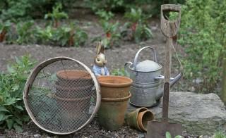 A Peter Rabbit figure hides behind garden implements in garden at Hilltop.