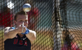 Keelin Godsey from US performs in the women's Hammer Throw during the Guadalajara 2011 XVI Pan American Games in Guadalajara, Mexico, on October 24, 2011. AFP PHOTO/MARTIN BERNETTI (Photo credit should read MARTIN BERNETTI/AFP/Getty Images)