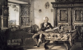 Wolfgang Amadeus Mozart (1756-1791) in his study in Kahlenberg, Vienna