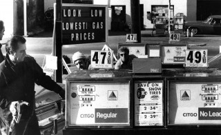 Sam Denaro, owner of Sam's Citgo in Swampscott, pumped a customer's gas. The gas station was in a price war with Mike Gambale's Independent Oil Co. which had lowered prices to 46.9 cents a gallon. Both Sam's and Uva's Texaco across the street went to 47.9 cents in hopes of keeping customers.