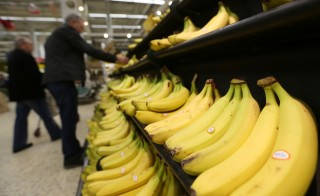 A shopper selects a bunch of bananas from the fruit display at the Tesco Basildon Pitsea Extra supermarket, operated by Tesco Plc, in Basildon, U.K., on Tuesday, Dec. 1, 2015. Many European food retailers are coming to terms with persistently low inflation as well as consumers who remain frugal yet purchase food more frequently. Photographer: Chris Ratcliffe/Bloomberg via Getty Images