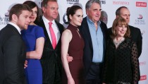 """NEW YORK, NY - DECEMBER 07:  (L-R) Allen Leech, Elizabeth McGovern, Hugh Bonneville, Michelle Dockery, Jim Carter, Phyllis Logan and Kevin Doyle attend """"Downton Abbey"""" series season six premiere at Millenium Hotel on December 7, 2015 in New York City.  (Photo by Rob Kim/Getty Images)"""