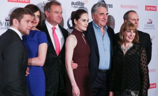 "NEW YORK, NY - DECEMBER 07:  (L-R) Allen Leech, Elizabeth McGovern, Hugh Bonneville, Michelle Dockery, Jim Carter, Phyllis Logan and Kevin Doyle attend ""Downton Abbey"" series season six premiere at Millenium Hotel on December 7, 2015 in New York City.  (Photo by Rob Kim/Getty Images)"