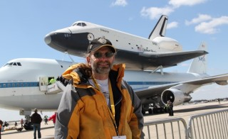 Michael Wilkinson in front of SCA-905 and Shuttle Enterprise Final Flight, JFK Airport, NYC. Photo courtesy of M. Wilkinson.