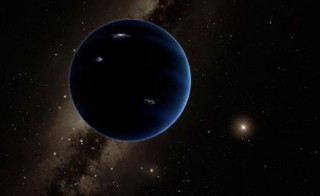 This artistic rendering shows the distant view from Planet Nine back towards the sun. The planet is thought to be gaseous, similar to Uranus and Neptune. Hypothetical lightning lights up the night side. Image from Caltech/R. Hurt (IPAC)