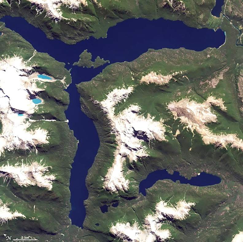 What beings with R? Radiometers and radiosondes. Rome andRotterdam. The resplendent solar radiation reflecting from the surface of this lake. On Jan. 20, 2015, the Operational Land Imager (OLI) on Landsat 8 captured this image of Lago Menendez in Argentina.