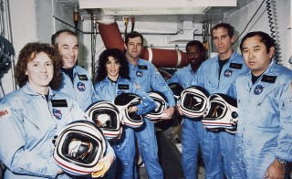 The Challenger crew takes a break during countdown training at NASA's Kennedy Space Center in this January 9, 1986 NASA file photograph. L-R: Teacher-in-Space payload specialist Sharon Christa McAuliffe, payload specialist Gregory Jarvis, and astronauts Judith A. Resnik, mission specialist; Francis R. (Dick) Scobee, mission commander; Ronald E. McNair, mission specialist; Mike J. Smith, pilot; and Ellison S. Onizuka, mission specialist. The NASA lost seven of its own on the morning of January 28, 1986, when a booster engine failed, causing the Shuttle Challenger to break apart just 73 seconds after launch.   REUTERS/NASA/Handout  (UNITED STATES - Tags: ANNIVERSARY SCIENCE TECHNOLOGY OBITUARY) THIS IMAGE HAS BEEN SUPPLIED BY A THIRD PARTY. IT IS DISTRIBUTED, EXACTLY AS RECEIVED BY REUTERS, AS A SERVICE TO CLIENTS. FOR EDITORIAL USE ONLY. NOT FOR SALE FOR MARKETING OR ADVERTISING CAMPAIGNS - RTR3D375