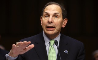 Secretary of Veterans Affairs Robert McDonald gestures as he testifies at a hearing of the U.S. Senate Committee on Veterans Affairs in Washington, D.C., Sept. 9, 2014.  Photo by Jim Bourg/Reuters