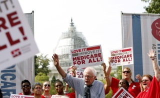 Democratic presidential candidate Bernie Sanders (I-VT) delivers remarks at a National Nurses United event to honor Medicare and Medicaid's 50th anniversary in Washington, D.C., July 30, 2015. Last week, Sanders released an outline of his plan for cradle-to-grave government-sponsored coverage for all, which is much more generous that Medicare. Photo by Gary Cameron/Reuters