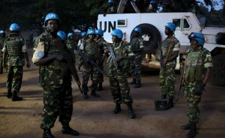 United Nations peacekeepers prepare to secure the grounds of the central mosque in Bangui, Central African Republic. Photo by Siegfried Modola/Reuters