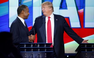 Six presidential hopefuls, including Republicans Ben Carson and Donald Trump, have found some common ground on the nation's future, according to a bipartisan group created to bridge the divide between Republicans, Democrats and independents. Photo by Mike Blake/Reuters