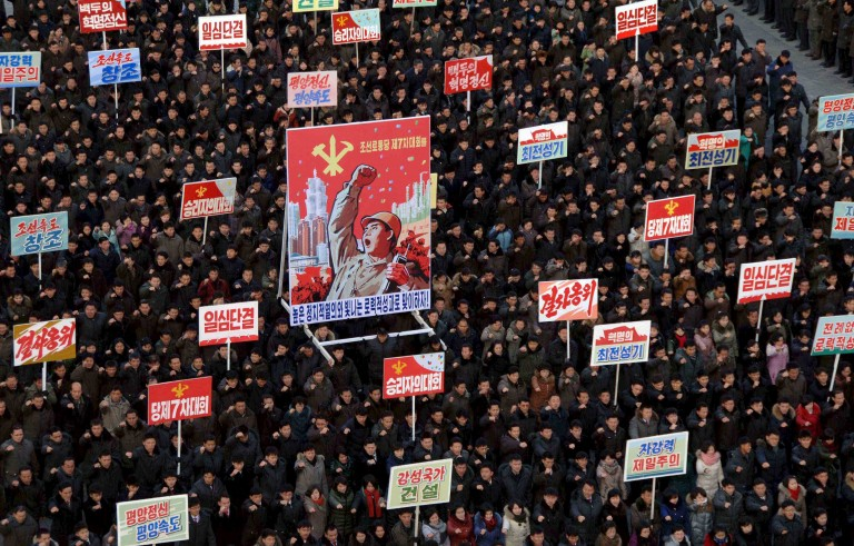 People take part in a mass rally at Kim Il Sung Square in Pyongyang to mark North Korean leader Kim Jong Un's New Year Address in this photo released by North Korea's Korean Central News Agency (KCNA) on January 5, 2016.     REUTERS/KCNA ATTENTION EDITORS - THIS PICTURE WAS PROVIDED BY A THIRD PARTY. REUTERS IS UNABLE TO INDEPENDENTLY VERIFY THE AUTHENTICITY, CONTENT, LOCATION OR DATE OF THIS IMAGE. FOR EDITORIAL USE ONLY. NOT FOR SALE FOR MARKETING OR ADVERTISING CAMPAIGNS. THIS PICTURE IS DISTRIBUTED EXACTLY AS RECEIVED BY REUTERS, AS A SERVICE TO CLIENTS. NO THIRD PARTY SALES. SOUTH KOREA OUT. NO COMMERCIAL OR EDITORIAL SALES IN SOUTH KOREA      TPX IMAGES OF THE DAY      - RTX214FG