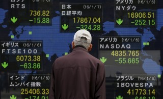 A pedestrian looks at an electronic board showing the stock market indices of various countries outside a brokerage in Tokyo, Japan, January 7, 2016. Japanese stocks fell on Thursday morning after China's central bank weakened the yuan - sparking a sharp strengthening of the yen, hurting exporters and tarnishing sentiment in a market already on edge over geopolitical tensions and signs that China's economy is slowing. REUTERS/Yuya Shino TPX IMAGES OF THE DAY      - RTX21CKS