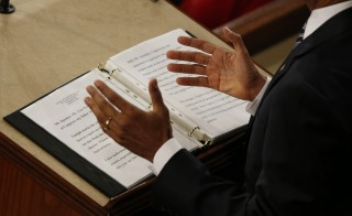 View of his notes as U.S. President Barack Obama delivers his State of the Union address to a joint session of Congress in Washington, January 12, 2016. Image by REUTERS/Jonathan Ernst
