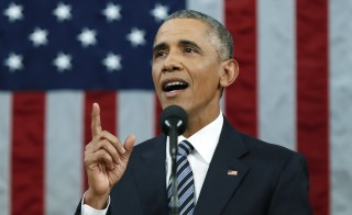 U.S. President Barack Obama emphasizes a point while delivering his final State of the Union address to a joint session of Congress in Washington January 12, 2016. REUTERS/Evan Vucci/Pool  - RTX224YO