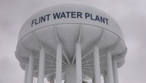 The top of a water tower is seen at the Flint Water Plant in Flint, Michigan January 13, 2016.  Michigan National Guard members were set to arrive in Flint as soon as Wednesday to join door-to-door efforts to distribute bottled water and other supplies to residents coping with the city's crisis over lead-contaminated drinking water.     REUTERS/Rebecca Cook - RTX22AL4