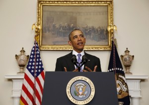 U.S. President Barack Obama delivers a statement on Iran at the White House  January 17, 2016. Obama signed an executive order on Saturday lifting sanctions on Iran related to its nuclear program after Tehran fulfilled requirements under a nuclear agreement with world powers, the White House said. Photo By Yuri Gripas/Reuters