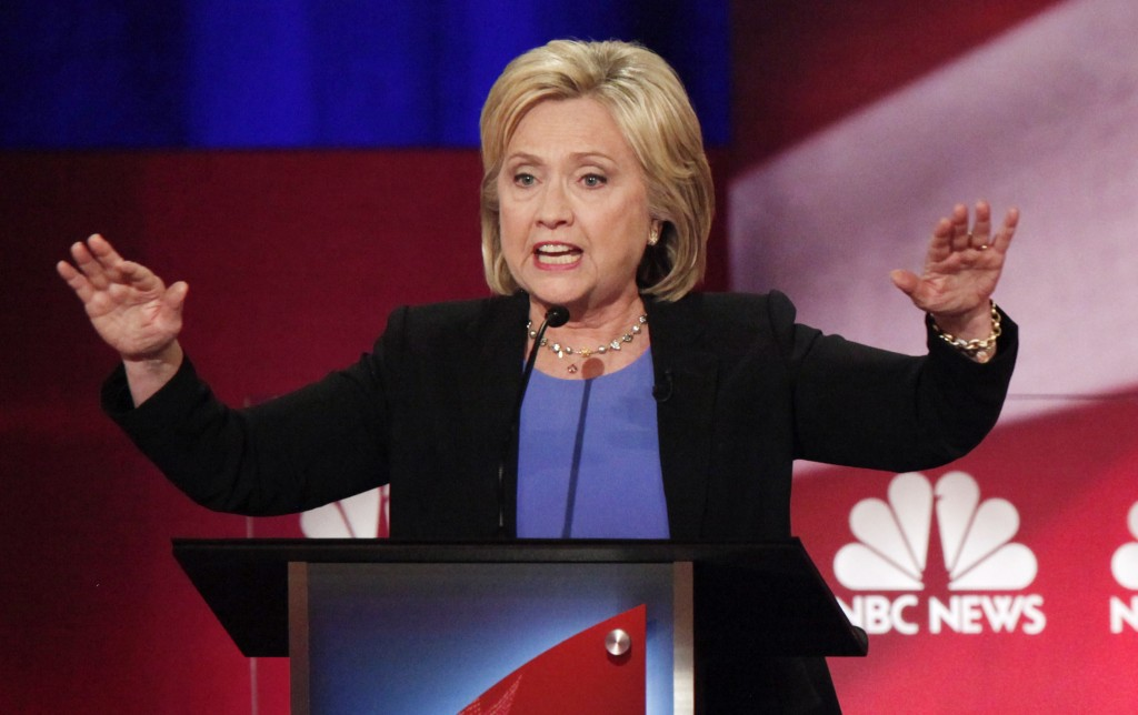 Former Secretary of State Hillary Clinton speaks at the NBC News - YouTube Democratic presidential candidates debate in Charleston, South Carolina Jan. 17, 2016. REUTERS/Randall Hill/Reuters