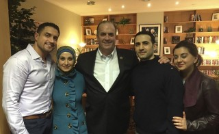 Amir Hekmati (3rd from L) poses with (L to R) family members Ramy Kurdi, Sarah Hekmati, U.S. Congressman Dan Kildee and Leila Hekmati after meeting for the first time since his release at Landstuhl Regional Medical Center in Landstuhl, Germany January 18, 2016. Hekmati, a former U.S. Marine from Flint, Michigan was released by Tehran with Jason Rezaian and Saeed Adedini and flown to Geneva on Sunday before leaving for Landstuhl military base.  REUTERS/The Hekmati Family/Handout via Reuters  ATTENTION EDITORS - FOR EDITORIAL USE ONLY. NOT FOR SALE FOR MARKETING OR ADVERTISING CAMPAIGNS. THIS PICTURE WAS PROVIDED BY A THIRD PARTY. REUTERS IS UNABLE TO INDEPENDENTLY VERIFY THE AUTHENTICITY, CONTENT, LOCATION OR DATE OF THIS IMAGE. THIS PICTURE IS DISTRIBUTED EXACTLY AS RECEIVED BY REUTERS, AS A SERVICE TO CLIENTS NO RESALES. NO ARCHIVE - RTX22Y62