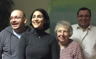 Jason Rezaian (L) is pictured with his wife Yeganeh Salehi (2nd R), mother Mary Rezaian and brother Ali Rezaian (R) in this January 18, 2016 handout photo taken in Landstuhl, Germany. Rezaian was one of four American prisoners released by Iran ahead of the lifting of international sanctions on Iran January 16, 2016 as part of a deal between major powers and Iran to curb Tehran's nuclear program. Photo by Martin Baron/The Washington Post/Handout via Reuters