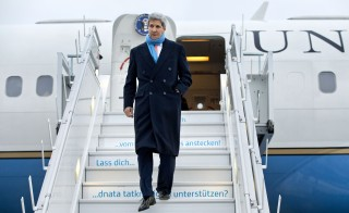 U.S. Secretary of State John Kerry arrives in Zurich, Switzerland, on Jan. 20 for the World Economic Forum in Davos. Photo by Jacquelyn Martin/Pool - via Reuters