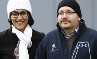 Jason Rezaian, Washington Post reporter and one of the U.S. citizens recently released from detention in Iran, poses to media together with his wife Yeganeh Salehi outside the Emergency Room of the Landstuhl Regional Medical Center (LRMC) in the southwestern town of Landstuhl, Germany, January 20, 2016. Rezaian was one of four American prisoners released by Iran ahead of the lifting of international sanctions on Iran January 16, 2016 as part of a deal between major powers and Iran to curb Tehran's nuclear program.   REUTERS/Kai Pfaffenbach - RTX2388C