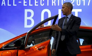 President Barack Obama checks out an all-electric Chevrolet Bolt at the North American International Auto Show in Detroit. Photo by Jonathan Ernst/Reuters