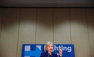 Democratic presidential candidate Hillary Clinton speaks at a hotel in Burlington, Iowa, Jan. 20, 2016. Photo by Aaron P. Bernstein/Reuters