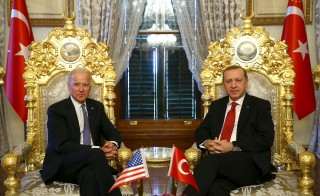 Turkish President Tayyip Erdogan (R) meets with U.S. Vice President Joe Biden in Istanbul, Turkey January 23, 2016, in this handout photo provided by the Presidential Palace. REUTERS/Kayhan Ozer/Presidential Palace/Handout via Reuters ATTENTION EDITORS - THIS IMAGE WAS PROVIDED BY A THIRD PARTY. REUTERS IS UNABLE TO INDEPENDENTLY VERIFY THE AUTHENTICITY, CONTENT, LOCATION OR DATE OF THIS IMAGE. FOR EDITORIAL USE ONLY. NOT FOR SALE FOR MARKETING OR ADVERTISING CAMPAIGNS. FOR EDITORIAL USE ONLY. NO RESALES. NO ARCHIVE. THE PICTURE IS DISTRIBUTED EXACTLY AS RECEIVED BY REUTERS, AS A SERVICE TO CLIENTS.   - RTX23NXD