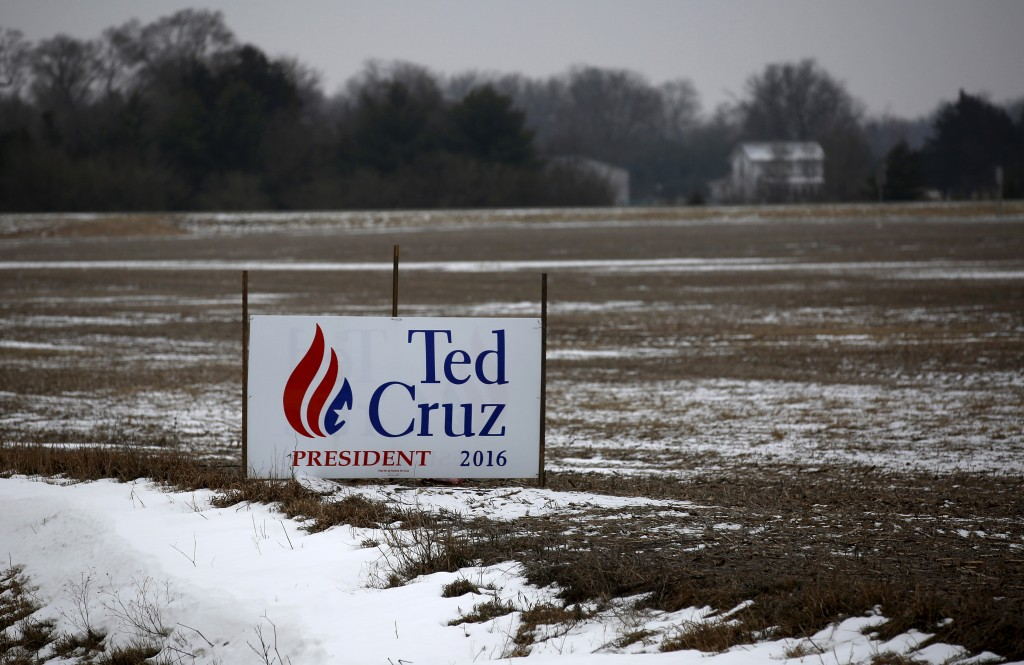 A campaign sign for U.S. Republican presidential candidate Ted Cruz is seen in a field in Muscatine, Iowa, United States, Jan. 24, 2016.   Photo By Jim Young/Reuters