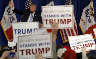 Republican presidential candidate Donald Trump speaks at a campaign event in Muscatine, Iowa, on Jan. 24. Photo By Jim Young/Reuters