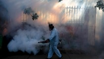 A health ministry worker fumigates a house to kill mosquitoes during a campaign against dengue and chikungunya and to prevent the entry of Zika virus in Managua, Nicaragua January 26, 2016. The Government of Nicaragua announced a plan in order to stop the Zika virus from arriving in the country. REUTERS/Oswaldo Rivas            TPX IMAGES OF THE DAY      - RTX244D1