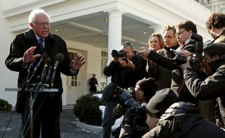 Democratic presidential candidate Bernie Sanders speaks to reporters at the White House after his meeting with U.S. President Barack Obama in Washington, D.C. Photo by Kevin Lamarque/Reuters