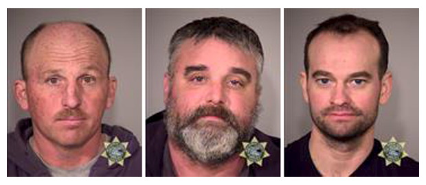 Inmates (left to right) Duane Leo Ehmer, Jason S. Patrick and Dylan Wade Anderson are seen in a combination of police jail booking photos released by the Multnomah County Sheriff's Office in Portland, Oregon on Jan. 28. Law enforcement was working on Thursday to convince remaining protesters in a month-long armed occupation of a federal wildlife refuge in Oregon to leave the site following calls from the group's leader to stand down and the death of a member. Photo by MCSO/Handout via Reuters