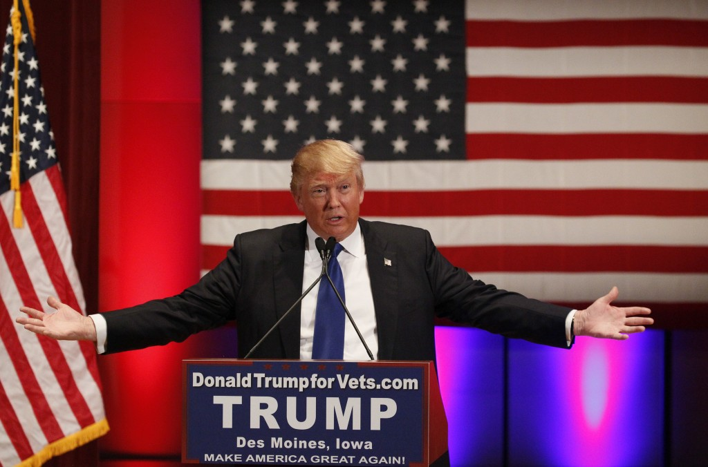 U.S. Republican presidential candidate businessman Donald Trump speaks at a veteran's rally in Des Moines, Iowa January 28, 2016. Photo by Rick Wilking/Reuters