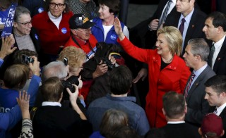 U.S. Democratic presidential candidate Hillary Clinton waves to supporters after a campaign rally at Iowa State University in Ames, Iowa January 30, 2016.  REUTERS/Adrees Latif - RTX24Q6J