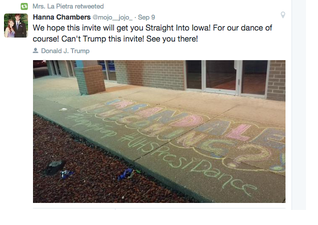 A tweet calling on Donald Trump to attend #UHSPresiDance - Urbandale High School's homecoming dance. Photo courtesy of Anne La Pietra