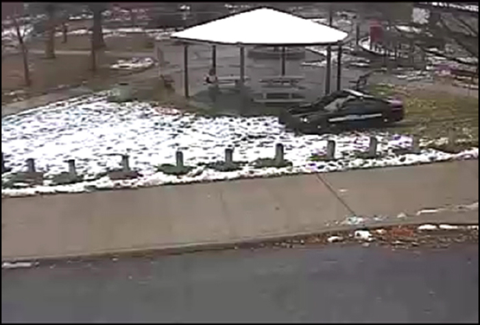 Surveillance footage of the Cudell Recreation Center moments before Tamir Rice was fatally shot. Photo courtesy of the Cuyahoga County prosecutor's office