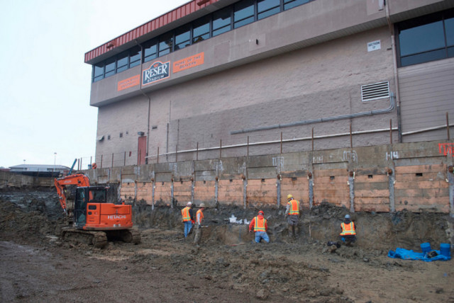 An expansion project at Oregon State University's Reser Stadium has uncovered what appears to be ancient mammoth bones under the north end zone of the football field. Photo courtesy of Loren Davis/Oregon State University