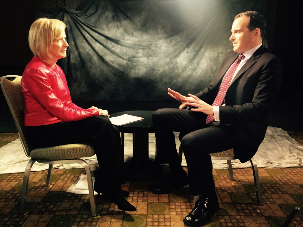PBS NewsHour co-anchor Judy Woodruff and Brett McGurk, special presidential envoy for the global coalition to counter the Islamic State militant group, spoke about the U.S.-Iranian prisoner exchange on Jan. 19. Photo by Daniel Sagalyn