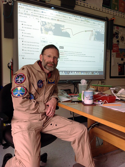 Michael Wilkinson in flight suit in classroom, Bronx, New York. Photo courtesy of Michael Wilkinson