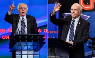 On the left, Bernie Sanders played by Sen. Bernie Sanders, and on the right, Bernie Sanders played by comedian Larry David. Photos by Lucy Nicholson/Reuters and Dana Edelson/NBC/NBCU Photo Bank via Getty Images