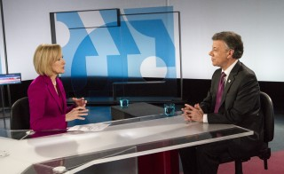 PBS NewsHour co-anchor Judy Woodruff interviewed Colombian President Juan Manuel Santos on Thursday's broadcast. Photo by Abbey Oldham