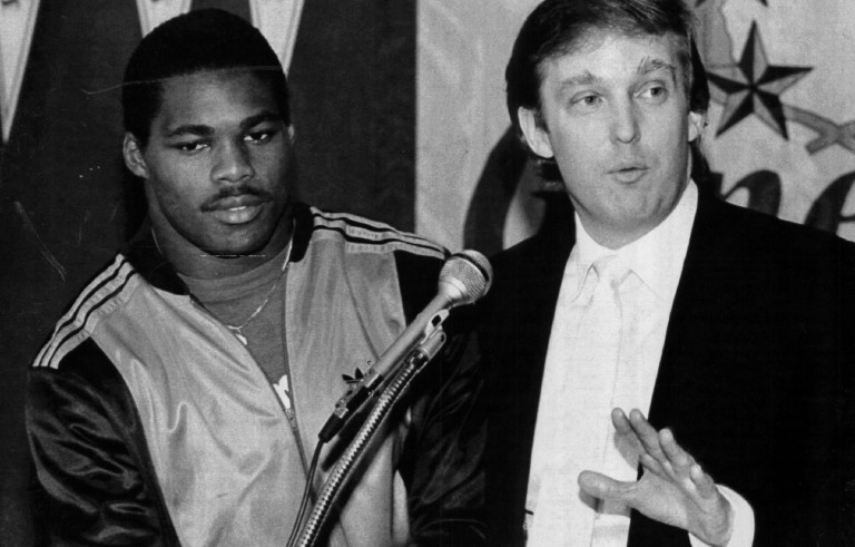 EAST RUTHERFORD, NJ - CIRCA 1983:  Team Owner Donald Trump announces he has signed Herschel Walker to play running back for the New Jersey Generals in New Jersey. Walker played for the General form 1983-85. Photo by Sporting News via Getty Images