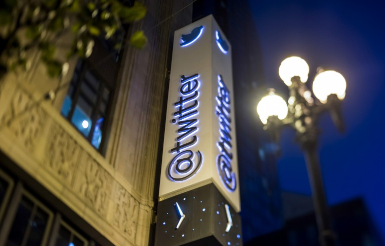 Twitter Inc. signage is displayed outside of the company's headquarters in San Francisco, California, U.S., on Wednesday, Oct. 21, 2015. Twitter Inc. is expected to release earnings figures on October 27. Photo by David Paul Morris/Bloomberg via Getty Images