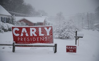MANCHESTER, NH - FEBRUARY 05:  A campaign sign for Republican presidential candidate Carly Fiorina is seen during a snow storm on February 5, 2016 in Manchester, New Hampshire. Democratic and Republican Presidential are stumping for votes throughout New Hampshire leading up to the Presidential Primary on February 9th.  (Photo by Joe Raedle/Getty Images)