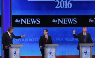 MANCHESTER, NH - FEBRUARY 06:  (L-R) Republican presidential candidates Jeb Bush, Sen. Marco Rubio (R-FL) and Donald Trump participate in the Republican presidential debate at St. Anselm College February 6, 2016 in Manchester, New Hampshire. Sponsored by ABC News and the Independent Journal Review, this is the final televised debate before voters go to the polls for the New Hampshire primary on February 9.  Joe Raedle/Getty Images