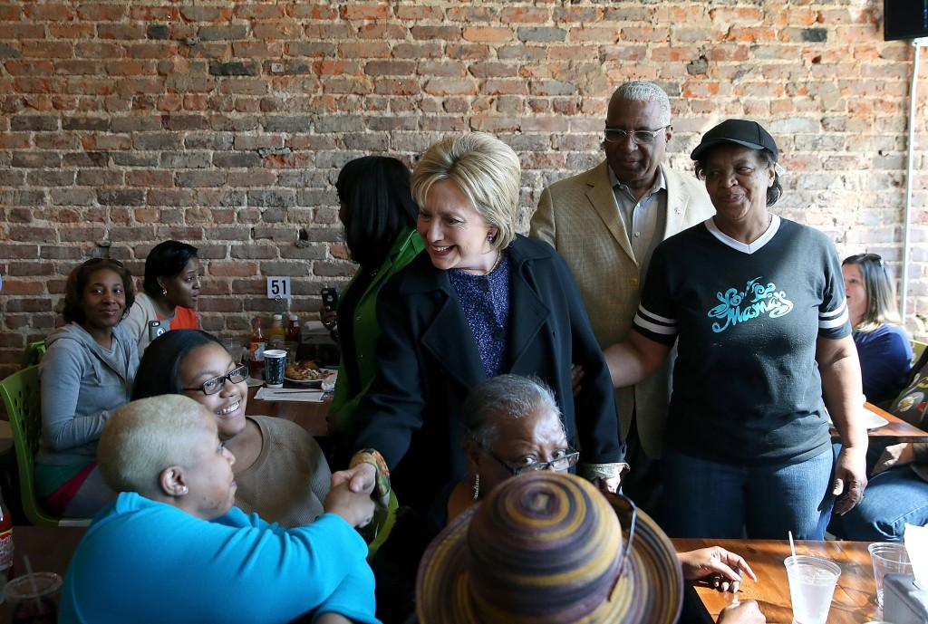 BIRMINGHAM, AL - FEBRUARY 27:  Democratic presidential candidate former Secretary of State Hillary Clinton greets patrons at Yo Mama's restaurant on February 27, 2016 in Birmingham, Alabama. Hillary Clinton held a campaign rally in Alabama before returning to South Carolina for her South Carolina primary night event, where African Americans and women helped drive a her victory.  Justin Sullivan/Getty Images)