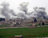 "A picture taken on February 27, 2016 in Akcakale in Sanliurfa province shows smoke rising from the neightbourhood of Syrian city Tel Abyad during clashes between Islamic State Group and People's Protection Units (YPG). ussian Foreign Minister Sergei Lavrov and US Secretary of State John Kerry ""hailed"" the ceasefire in Syria and discussed ways of supporting it through cooperation between their militaries, Russia's foreign ministry said on February 27, 2016. / AFP / STR        (Photo credit should read STR/AFP/Getty Images)"