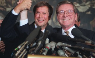 House Budget Chairman John Kasich, R-Ohio, left, and Senate Budget Chairman Pete Domenici, R-N.M., exult in the bipartisan Balanced Budget Act of 1997. Photo by Scott J. Ferrell/Congressional Quarterly/Getty Images